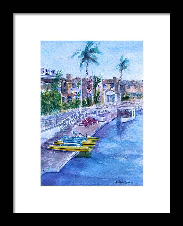 Watercolor Landscape Framed Print featuring the painting Naples Fun by Debbie Lewis