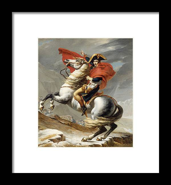 Napoleon Framed Print featuring the painting Napoleon Bonaparte on Horseback by War Is Hell Store