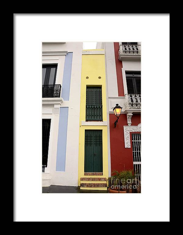 Yellow Framed Print featuring the photograph Narrow Yellow Building In Old San Juan by Birgit Tyrrell