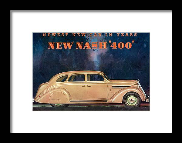 Advertisement Framed Print featuring the drawing Nash 400 - Vintage Car Poster by World Art Prints And Designs