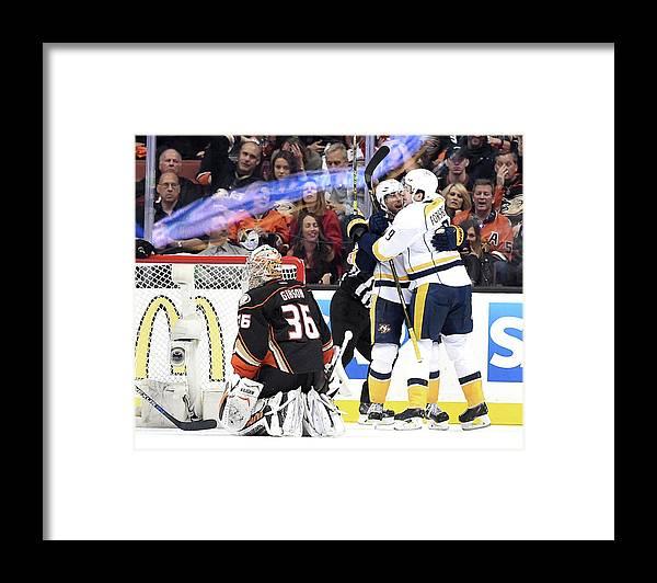 Playoffs Framed Print featuring the photograph Nashville Predators V Anaheim Ducks - by Harry How