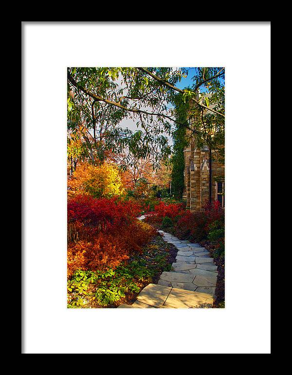 National Cathedral Framed Print featuring the photograph National Cathedral Path by Mitch Cat
