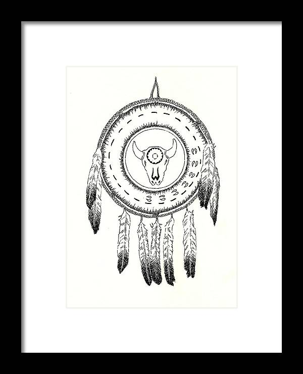Shield Framed Print featuring the drawing Native American Ceremonial Shield Number 2 Black And White by Michael Vigliotti
