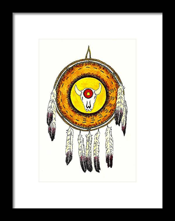 Shield Framed Print featuring the painting Native American Ceremonial Shield Number 2 by Michael Vigliotti