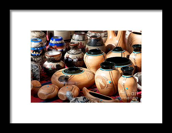 Native American Framed Print featuring the photograph Native American Pottery Sale by Vinnie Oakes