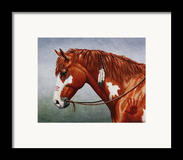 Horse Framed Print featuring the painting Native American War Horse by Crista Forest