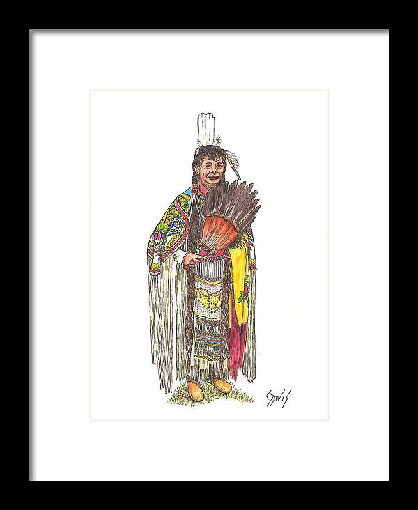 Indian Framed Print featuring the drawing Native American Woman by Lew Davis