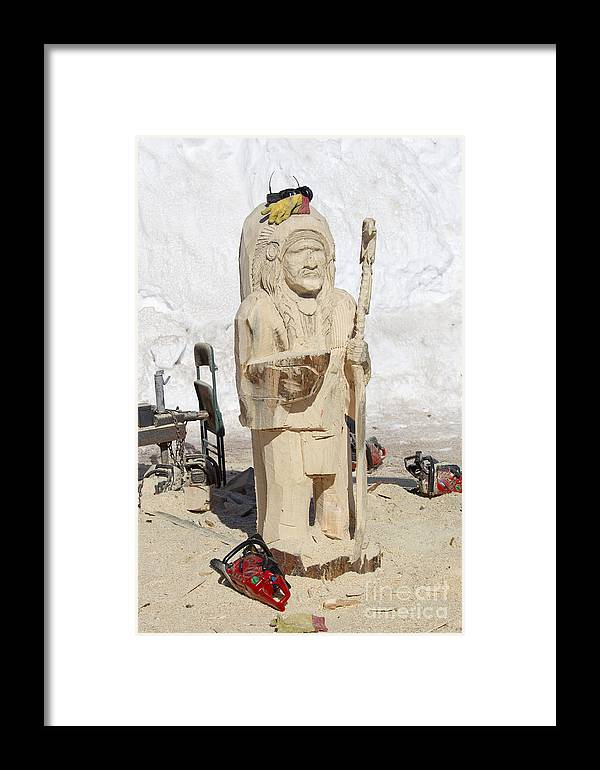 Indian Framed Print featuring the photograph Native American Wood Carving by Keith Bell