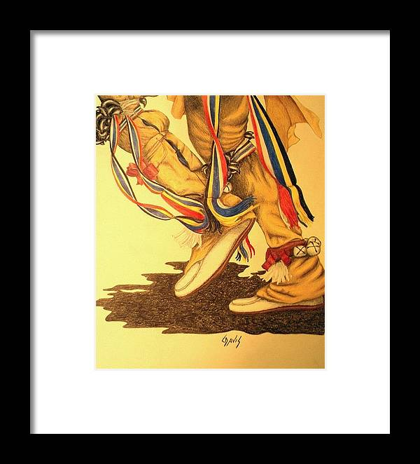 Dancer Framed Print featuring the drawing Native Dancer's Feet 1 by Lew Davis