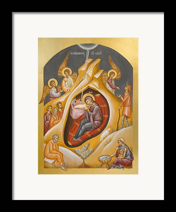 Nativity Framed Print featuring the painting Nativity Of Christ by Julia Bridget Hayes