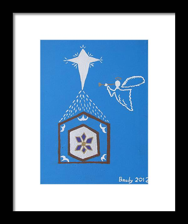 Nativity Framed Print featuring the painting Nativity Scene by Brady Harness