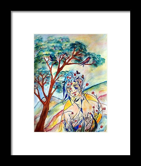 Female Framed Print featuring the painting Natura by Robin Monroe