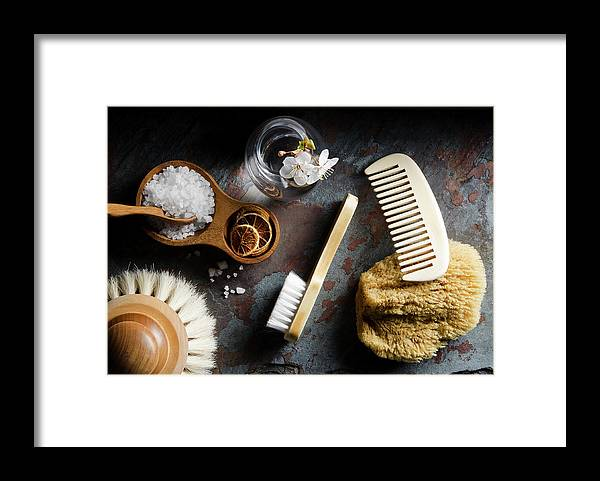 Comb Framed Print featuring the photograph Natural Bath Accesories On Gray by Nightanddayimages