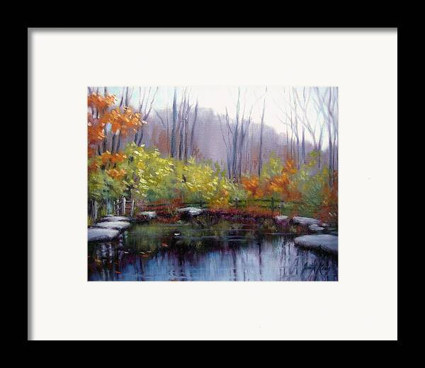 Autumn Framed Print featuring the painting Nature Center Pond At Warner Park In Autumn by Janet King