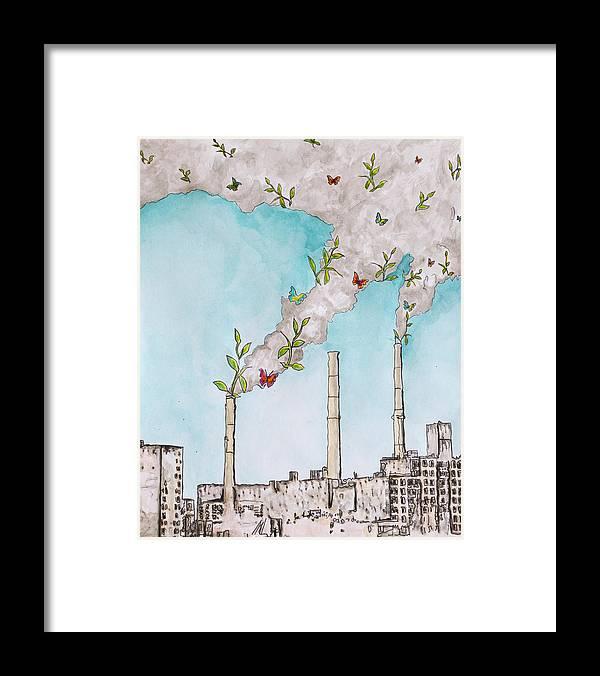 Smoke Stacks Framed Print featuring the digital art Nature Fights Back by Gina Tarantino