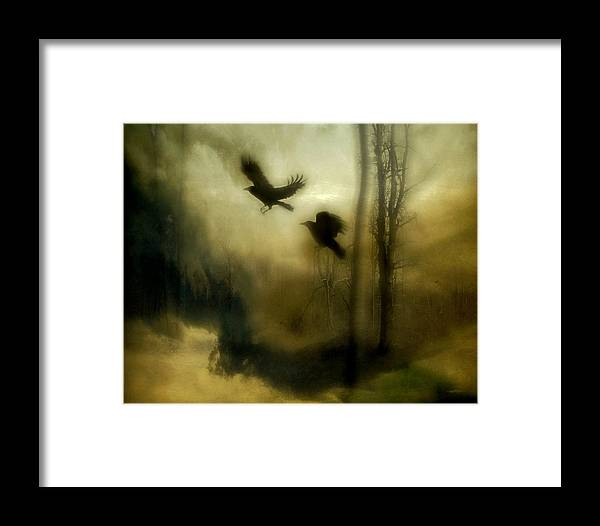 Crows Framed Print featuring the mixed media Nature's Blur by Gothicrow Images