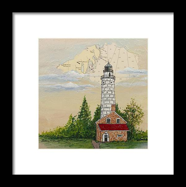 Cana Island Framed Print featuring the painting Nautical Chart Cana Island Lighthouse by Bethany Kirwen