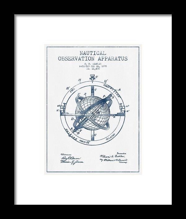 Compass Framed Print featuring the digital art Nautical Observation Apparatus Patent From 1895 - Blue Ink by Aged Pixel