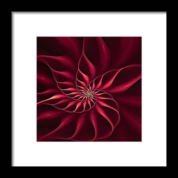Flower Framed Print featuring the digital art Nautilus Fractalus Magenta And Yellow by Doug Morgan