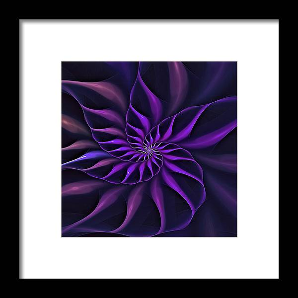 Flower Framed Print featuring the digital art Nautilus Fractalus Moongarden by Doug Morgan