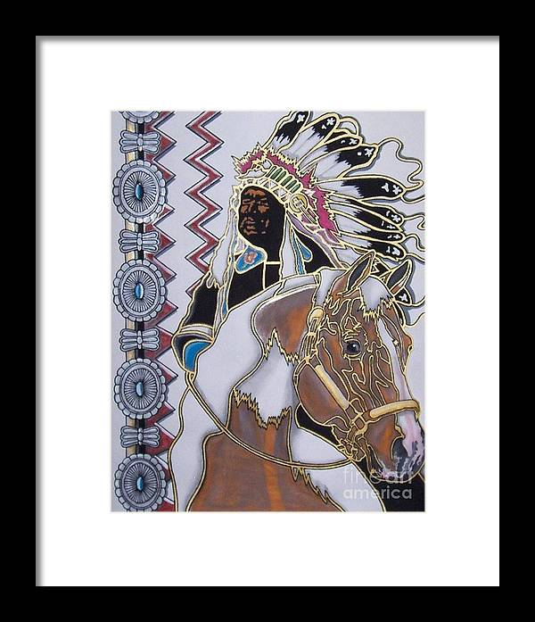 Native American Framed Print featuring the painting Navajo 02 by Jerry Foxworth