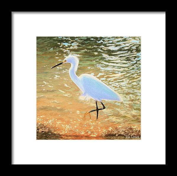 Snowy Framed Print featuring the painting Navigating The Tide by Tim Davis