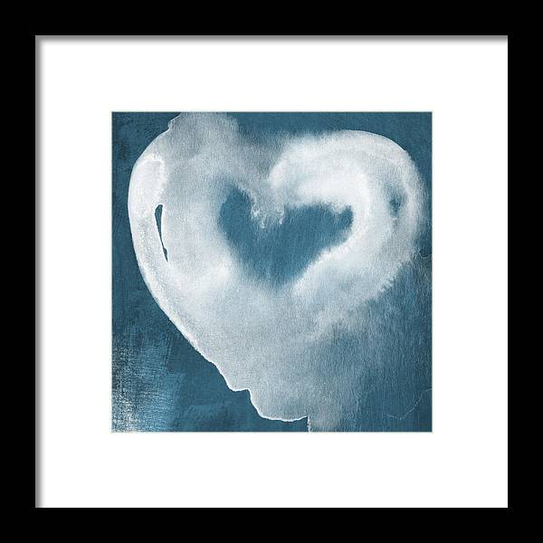 Love Framed Print featuring the mixed media Navy Blue And White Love by Linda Woods