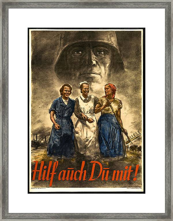 Nazi War Propaganda Poster Framed Print