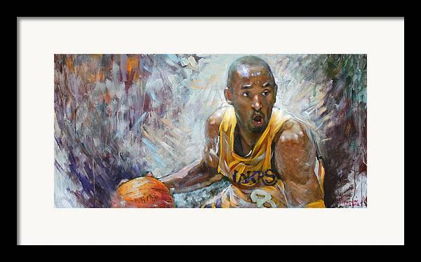 Lakers Framed Print featuring the painting Nba Lakers Kobe Black Mamba by Ylli Haruni
