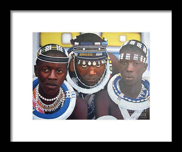 Portrait Framed Print featuring the painting Ndebele Initiates by Edgar Pretorius