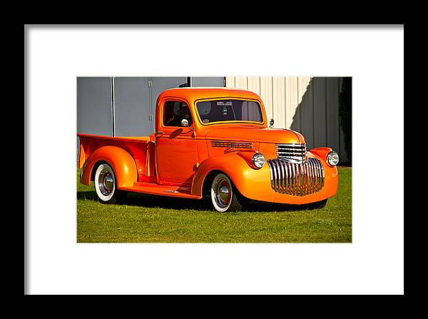 Neat Vintage Chevrolet Truck In Bright Orange Framed Print