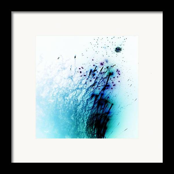 Blue Abstracts Framed Print featuring the photograph Negative Fireworks by Sharon Lisa Clarke