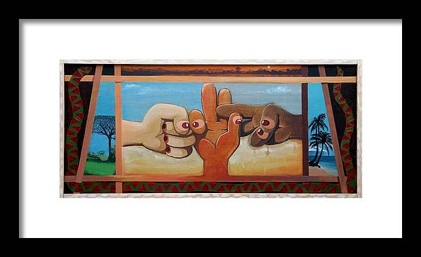 Cross Cultural Framed Print featuring the painting Negotiation by Fred Paddock
