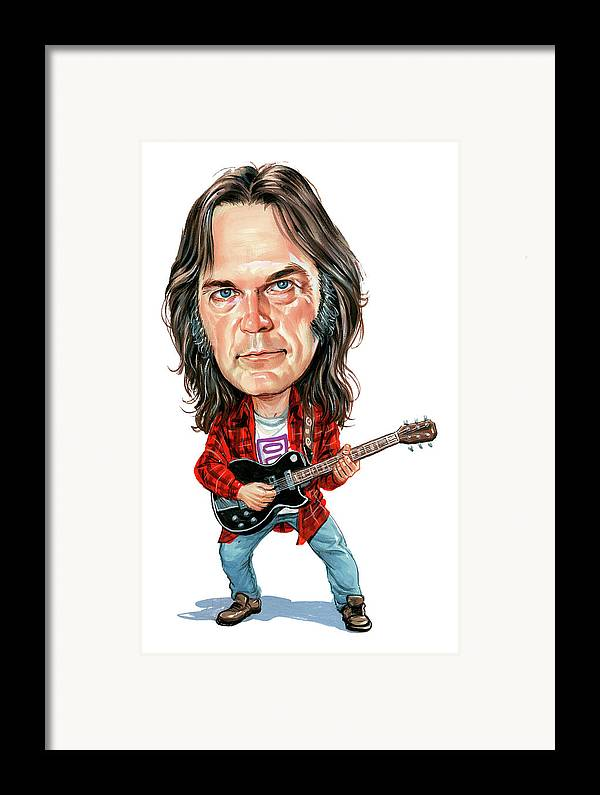Neil Young Framed Print featuring the painting Neil Young by Art