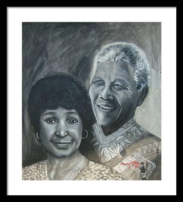 From Black & White Series Framed Print featuring the painting Nelson And Winnie by Howard Stroman