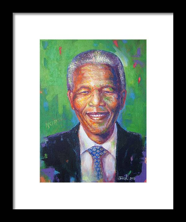 Original Art Painting & Creationtitle: Nelson Mandelamedium: Oil & Acrylicsize: 30x40cm. On Stretched Canvas Framed Print featuring the painting Nelson Mandela 1 by Jack No War