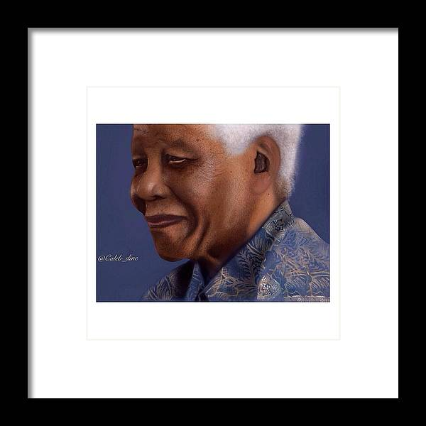 Painting Framed Print featuring the digital art Nelson Mandela by Caleb Tony