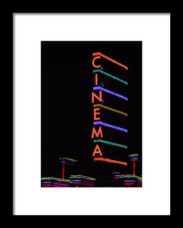 Neon Framed Print featuring the photograph Neon Cinema by Marcia Socolik