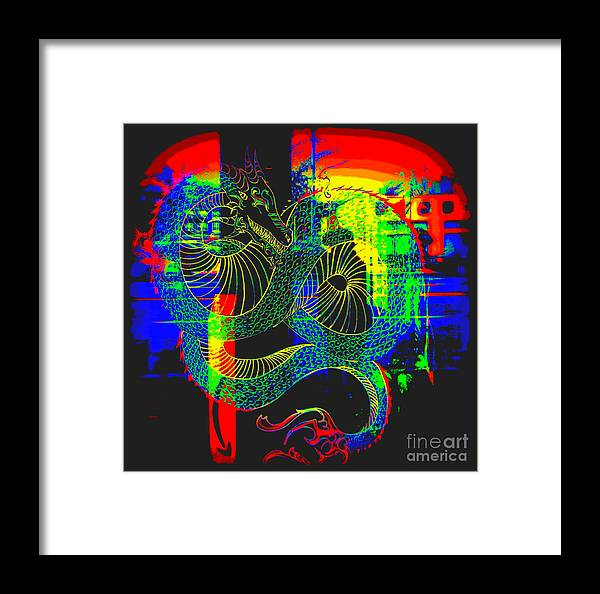 Framed Print featuring the photograph Neon Dragon Painted by Kelly Awad