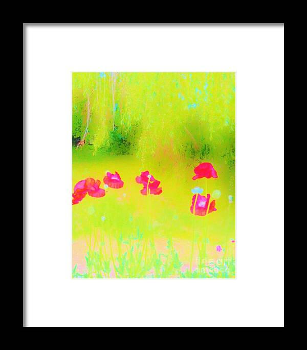 Poppies Framed Print featuring the photograph Neon Poppies by Sherry Stone