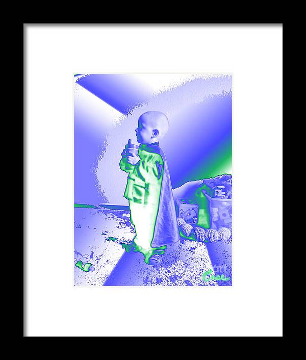 Portrait Of A Boy Framed Print featuring the digital art Neon Water Dragon Ninja Boy by Feile Case