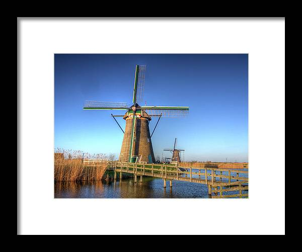 Architecture Framed Print featuring the photograph Netherlands, Kinderdijk, Sunrise by Terry Eggers
