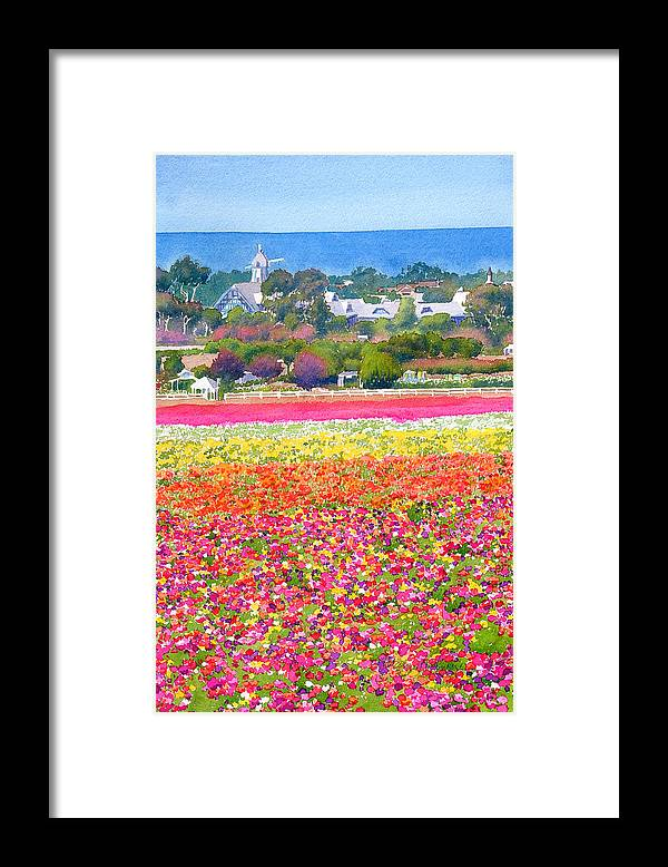 Landscape Framed Print featuring the painting New Carlsbad Flower Fields by Mary Helmreich