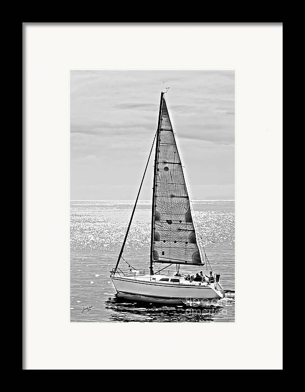 Sailboat Framed Print featuring the photograph New Dawn - Sailing Into Calm Waters by Artist and Photographer Laura Wrede