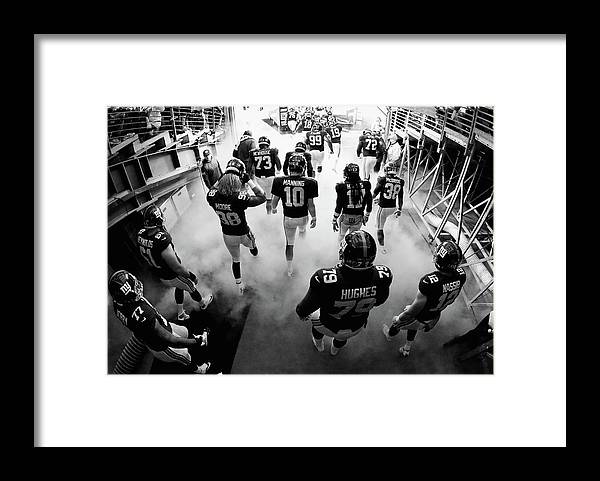People Framed Print featuring the photograph New England Patriots V New York Giants by Al Bello
