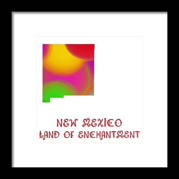 Andee Design Framed Print featuring the digital art New Mexico State Map Collection 2 by Andee Design