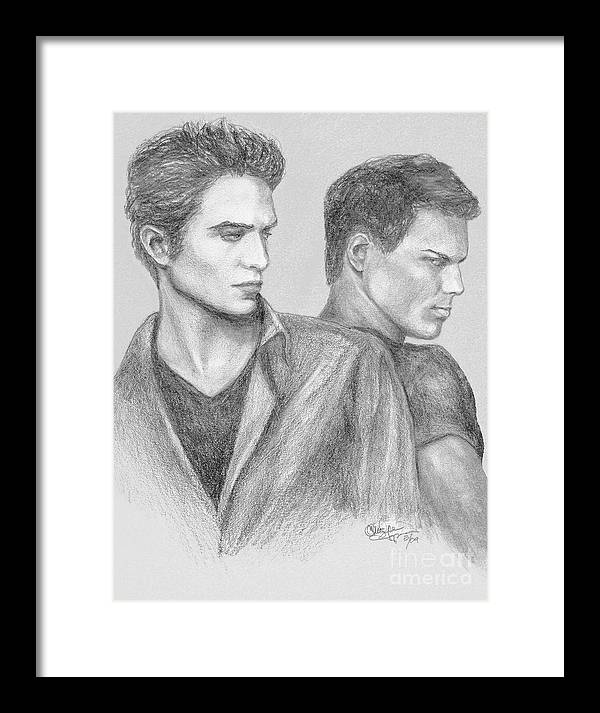 Edward Framed Print featuring the drawing New Moon by Christine Jepsen