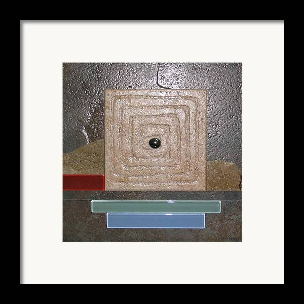 Assemblage Framed Print featuring the relief New Moon by Elaine Booth-Kallweit