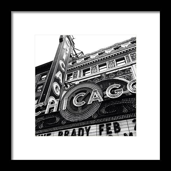 America Framed Print featuring the photograph Chicago Theatre Sign Black and White Photo by Paul Velgos