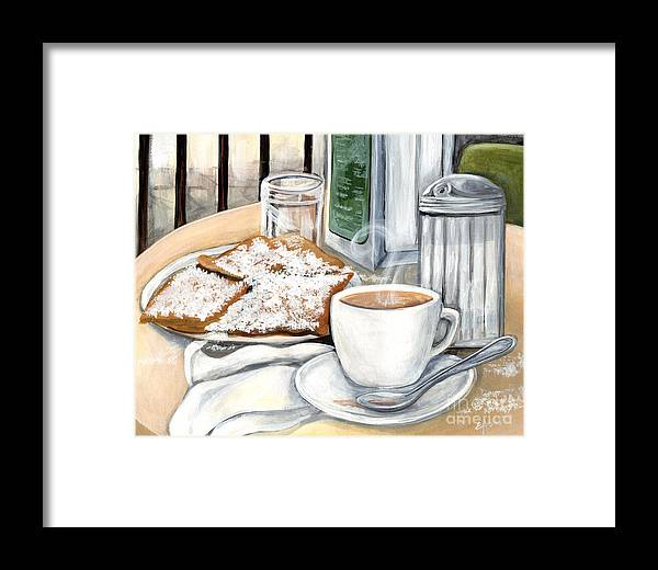 New Orleans Framed Print featuring the painting New Orleans Cafe Du Monde by Elaine Hodges